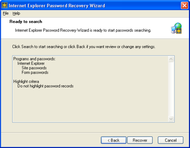 Internet Explorer Password Recovery Wizard Screenshot