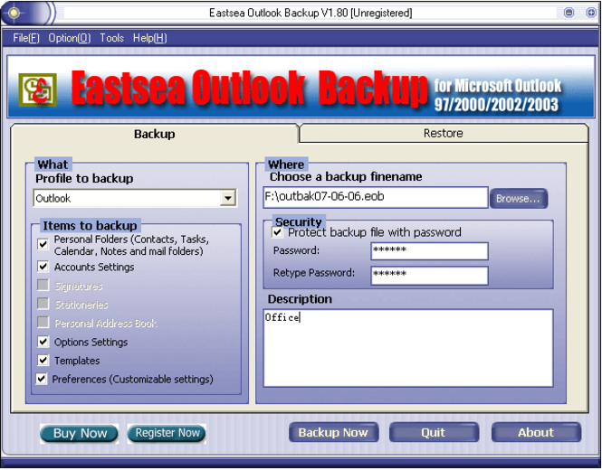 Eastsea Outlook Backup Screenshot