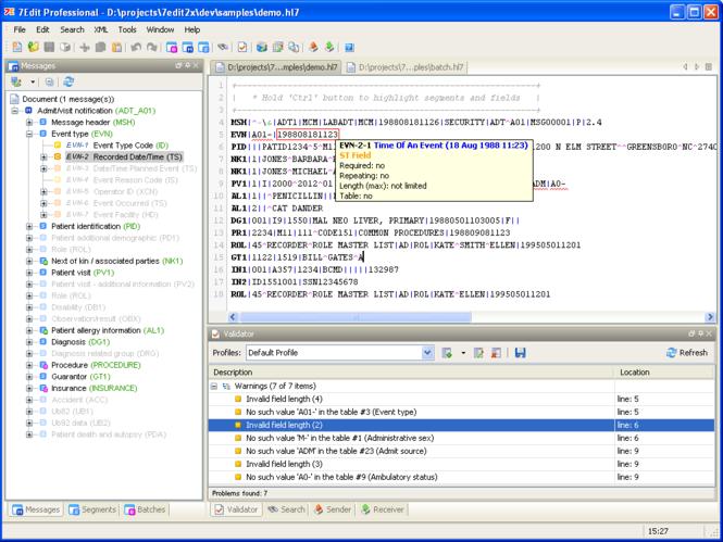 7Edit (HL7 browser/editor) Screenshot