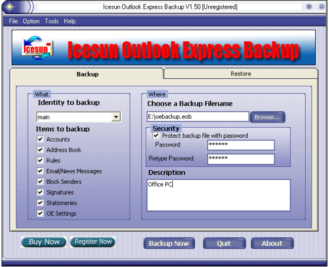 Icesun Outlook Express Backup Screenshot
