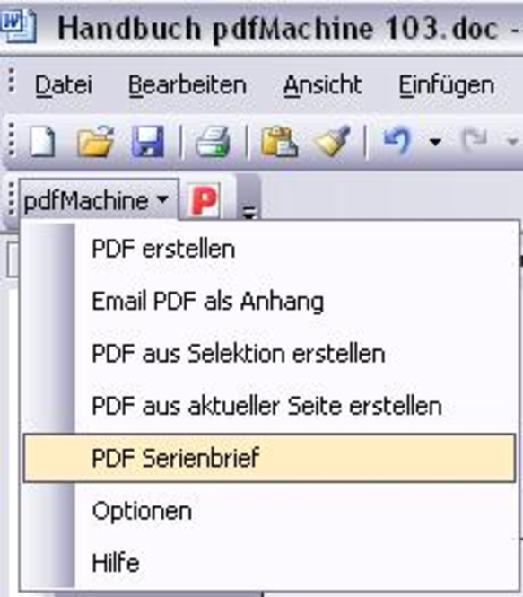 pdfMachine Serienbrief 10 User Paket Screenshot