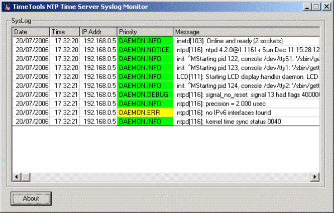 Windows NTP Time Server Syslog Monitor Screenshot