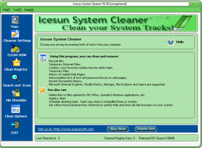 Icesun System Cleaner Screenshot 2