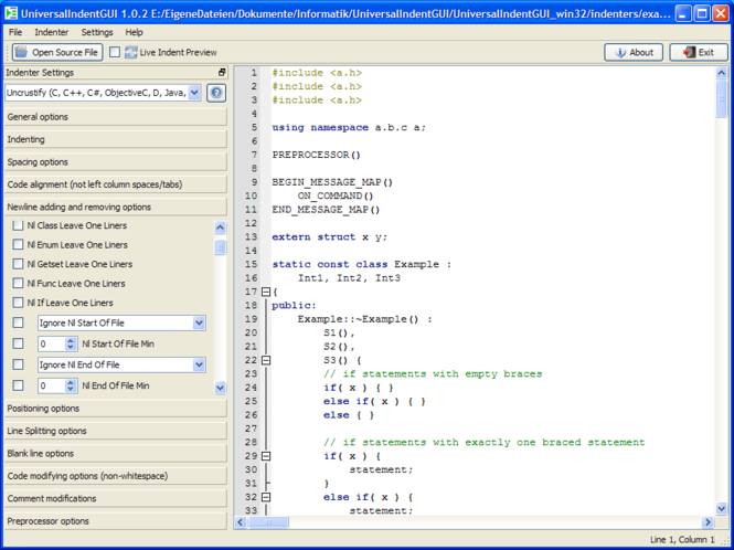 UniversalIndentGUI Screenshot 1