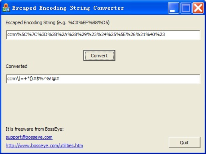 URL Escaped Encoding Decoder Screenshot