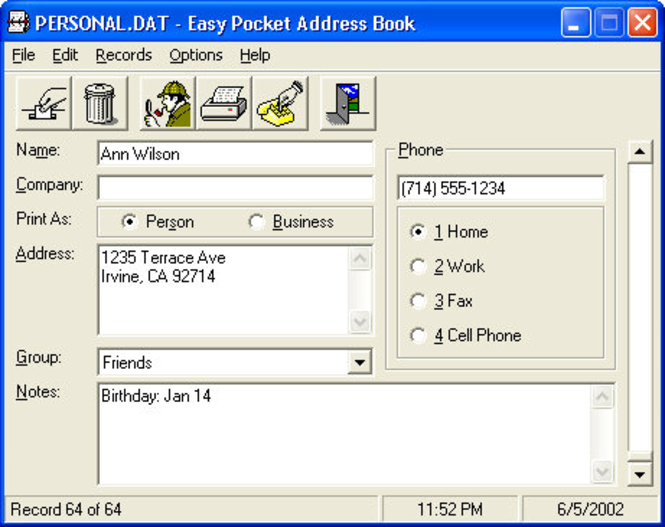 Easy Pocket Address Book Screenshot