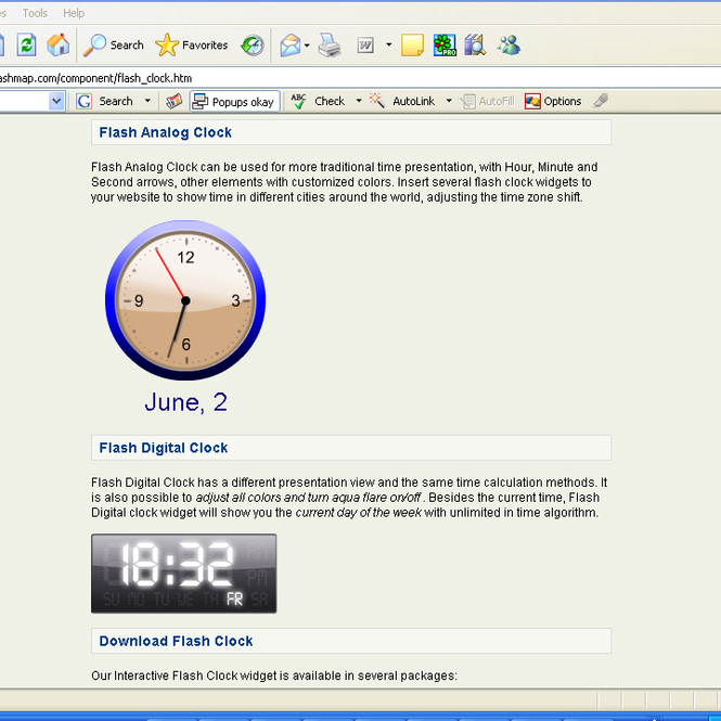 Flash Clock Screenshot
