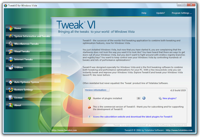 TweakVI Basic Screenshot