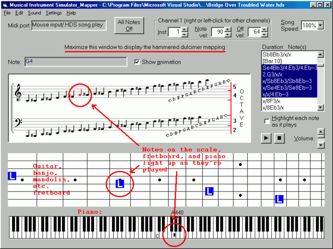 Musical Instrument Simulator/Note Mapper Screenshot