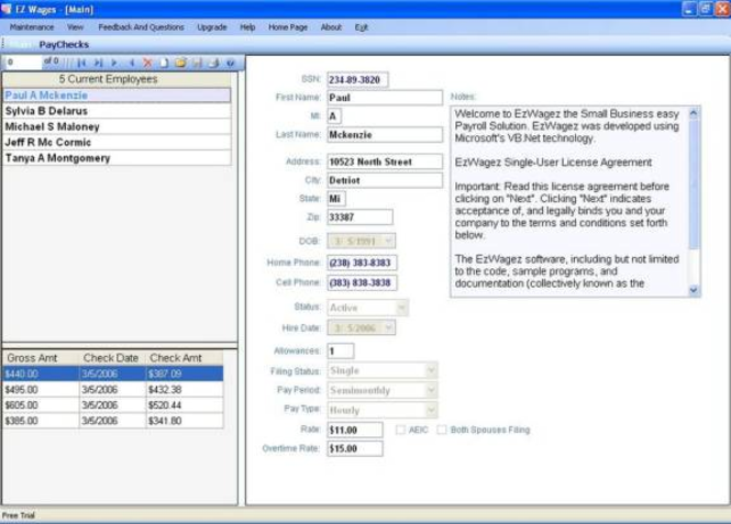 EzWagez Payroll System Screenshot 1