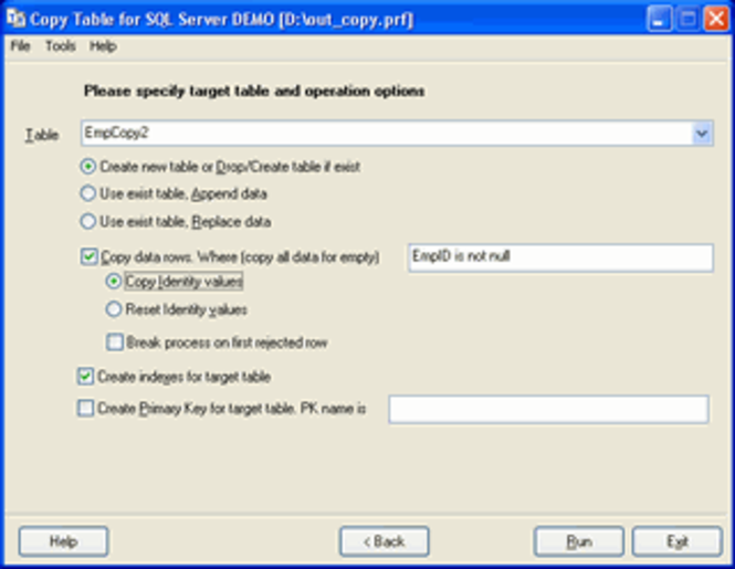 Copy Table for SQL Server Screenshot 1