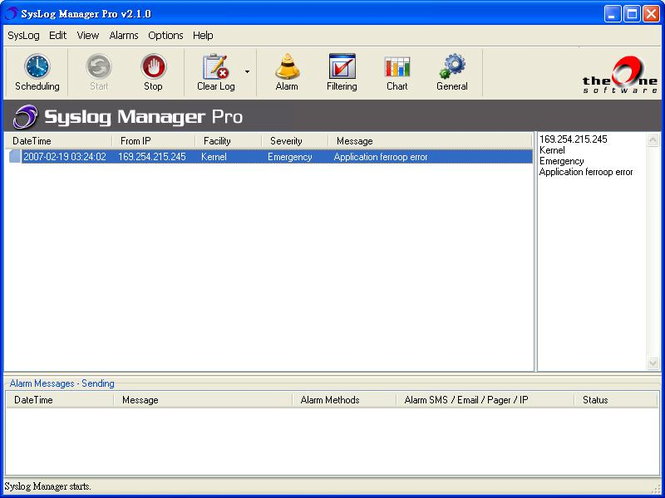TheOne SysLog Manager Pro Screenshot