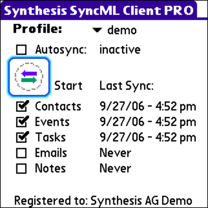 Synthesis SyncML Client PRO for PalmOS Screenshot