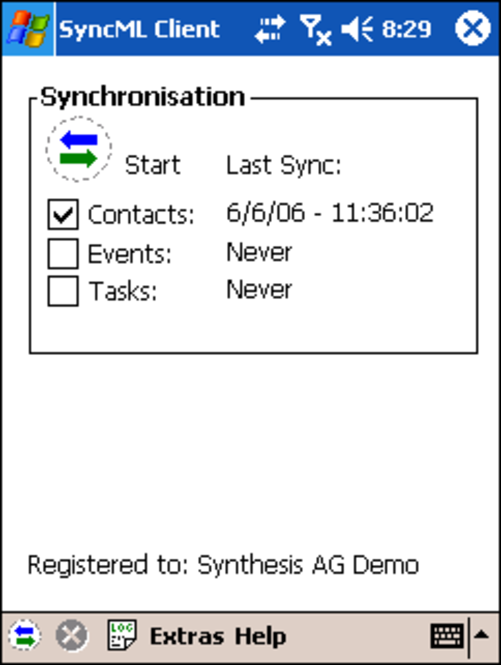 Synthesis SyncML Client STD for Windows Mobil Screenshot