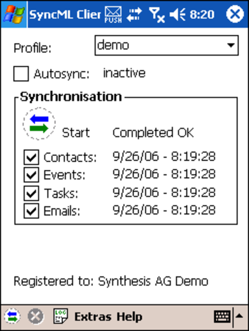 Synthesis SyncML Client PRO for Windows Mobil Screenshot
