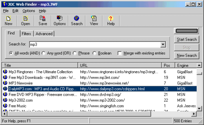 JOC Web Finder Screenshot