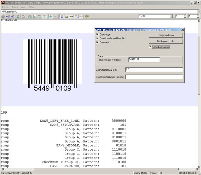 EAN8 barcode source code Screenshot 1