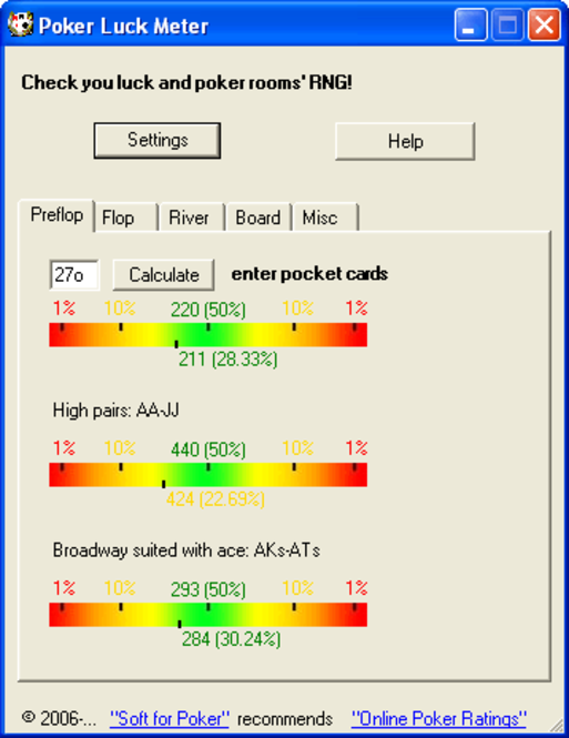 PokerLuckMeter Screenshot