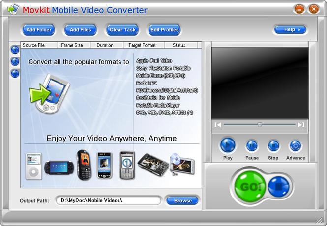 Movkit Mobile Video Converter Screenshot