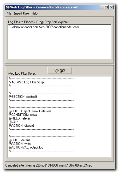 Web Log Filter Screenshot
