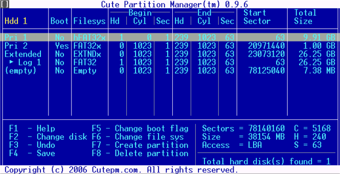 Cute Partition Manager Screenshot 1