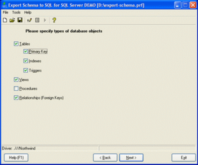 Export Schema to SQL for SQL Server Screenshot