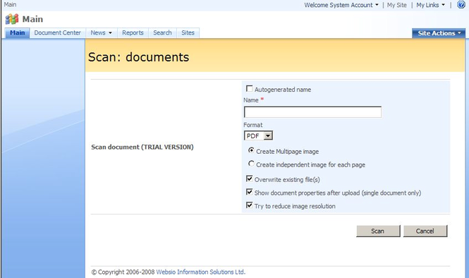 SharePoint Scanner Plug-in Professional Screenshot