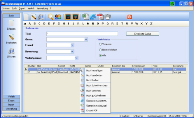 Bookmanager Professional Screenshot 2