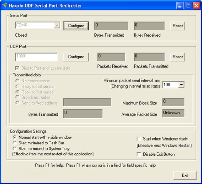 UDP Serial Port Redirector Screenshot