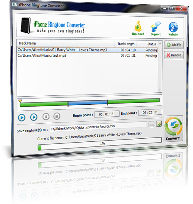 MoveDVD Ringtone Converter for iPhone Screenshot