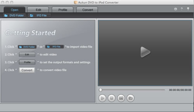 AuKun DVD to iPod for Mac Screenshot 1