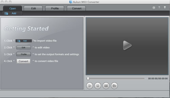 AuKun MKV converter for Mac Screenshot