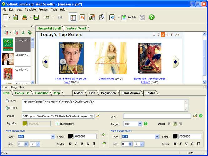 JavaScript Web Scroller - Scrollbalken erstellen Screenshot