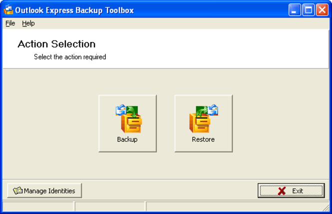 Outlook Express Backup Toolbox Screenshot 1