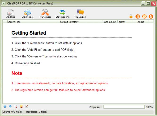 PDF to Tiff Converter Free Screenshot 1