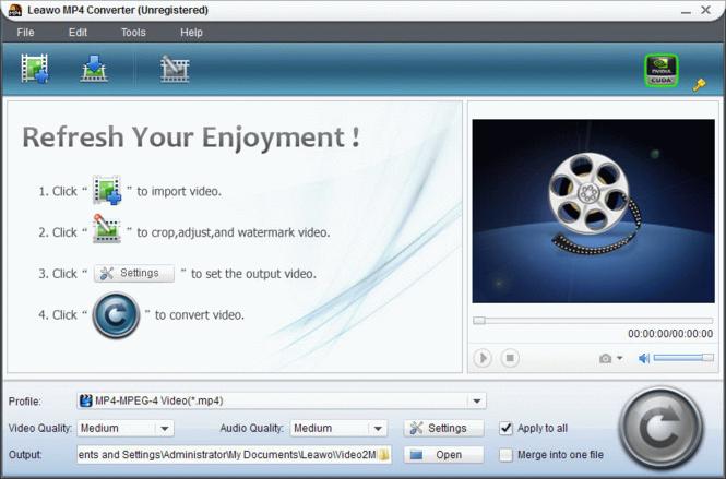 Leawo AVI to MP4 Converter Screenshot