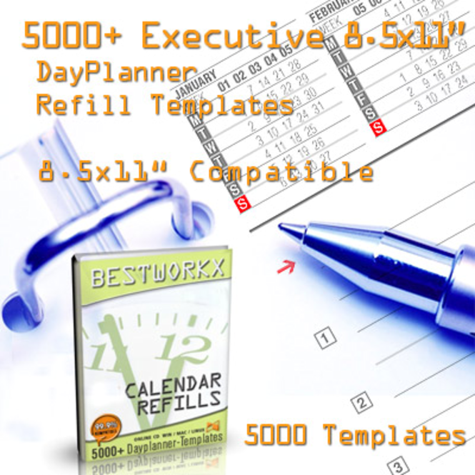 2007 Executive Calendar Refill Templates Screenshot