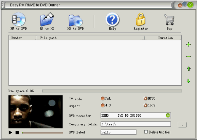 Easy RM RMVB to DVD Burner Screenshot