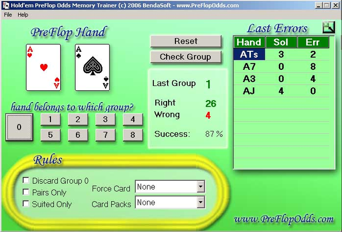 Preflop Odds Memory Trainer Screenshot 1