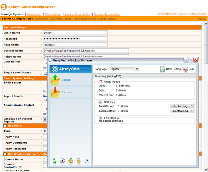 Ahsay Online Backup Software Screenshot