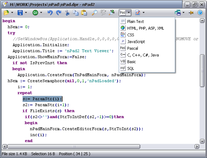 nPad2 Source Viewer/Editor Screenshot