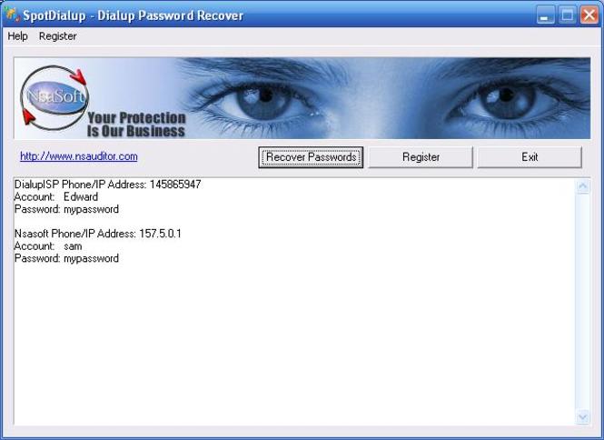 SpotDialup Password Recover Screenshot 1