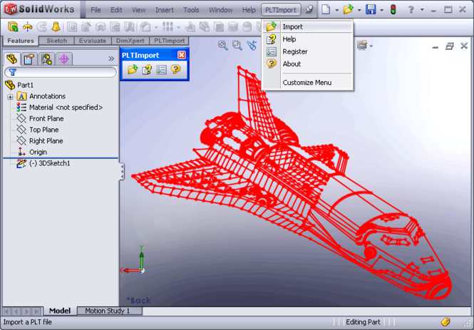 PLT Import for SolidWorks Screenshot