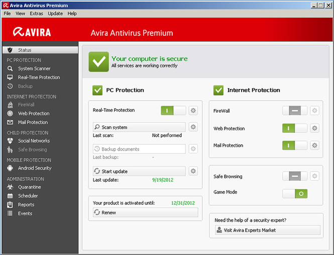 Avira Antivirus Premium 2013 Screenshot