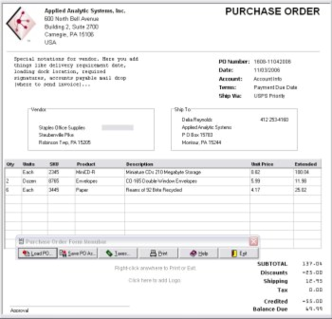OrderGen Purchase Order Form Screenshot