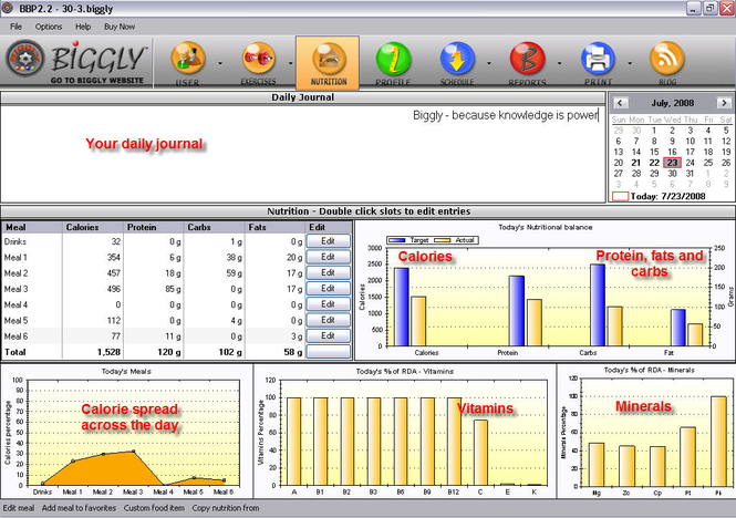 Biggly Diet Software Screenshot