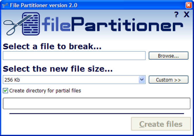 File Partitioner Screenshot