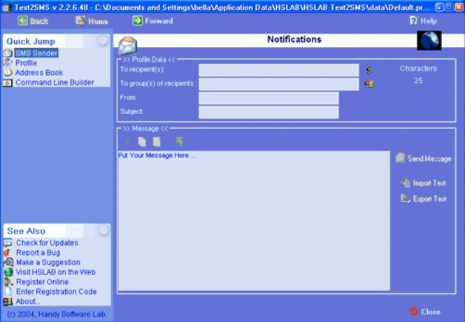HSLAB Text2SMS Lite Screenshot 1