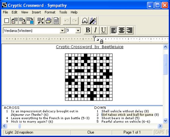 Sympathy Crossword Construction Screenshot