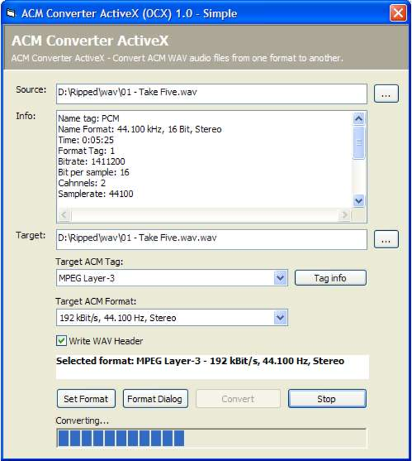 ACM Converter ActiveX (OCX) Screenshot